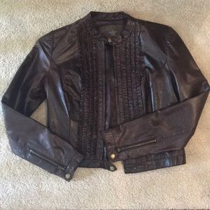Emilie D. Dark brown leather jacket with ruffles